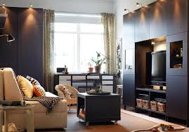 Living Room : IKEA Living Room Decorating Ideas In A Small Room Equipped  With A Small Desk And Brown Sofa With Pillows And Then The Wardrobe Plus A  ...