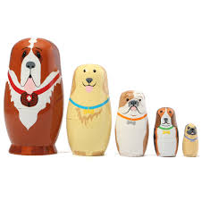 well reviewed 5 pcs russian wooden nesting dolls dogs matryoshka hand painted gift tricky toys creative gift newchic