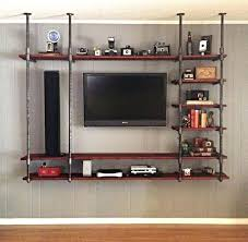 Diy Industrial Tv Stand Entertainment Shelving Ideas Rustic Center Wall  Mounted With Dark Wood N62