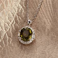 18k white gold natural green tourmaline diamond pendant for necklace