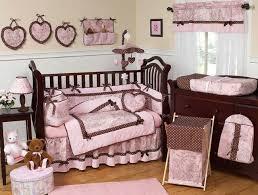pink brown toile 9pc baby crib bedding set by jojo designs