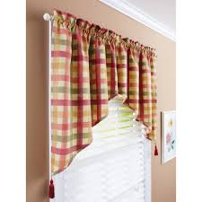 better homes and gardens red check tier valance or swag valance com
