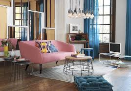 vibrant blue living room curtain