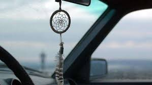 Dream Catcher For Car Mirror Delectable View Of Dream Catcher Hanging From Rearview Mirror Inside Car