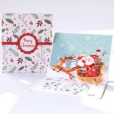 Christmas Birthday Cards Paper Spiritz Pop Up Christmas Cards Santa Ride Holiday Greeting Cards Happy New Year Card 3d Birthday Card With Envelope