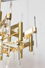 gold plated chandelier with faceted vertical crystals by gaetano sciolari original label inside canopy