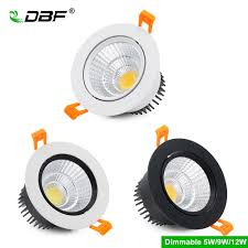 Epistar Super Led Lights Us 3 95 43 Off Dbf Super Bright Epistar Cob Led Recessed Downlight Dimmable 5w 9w 12w 3000k 4000k 6000k Led Ceiling Spot Lamp Indoor Lighting In