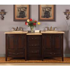 Master Bathroom White Vanity With Two Sinks And Large Mirrors 5 Foot Double Sink Vanity