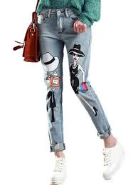 Character Pants Personalized Cartoon Character Letters Distressed Jeans