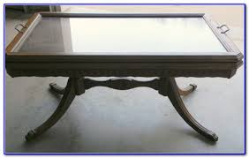 antique coffee table with removable glass top