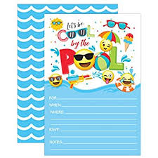 Amazon.com: 50 Blue Summer Swim Pool Party Invitations For Children ...