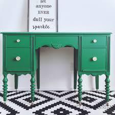 green painted furniture. Furniture Flip, Desk Makeover, Painted Desk, Refinished Emerald Green, General Green I