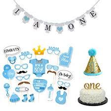 Amazoncom 36 Pcs Baby Boy First Birthday Cake Topper I Am One