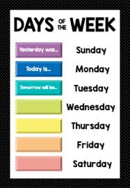 Days Of The Week And Weather Chart Worksheets Teaching
