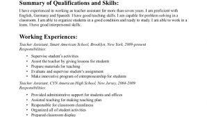 Teacher Assistant Resume University Teaching Assistant Resume Sample