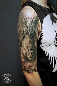 тату с ангелом крылья на спине эскизы значения 105 фото