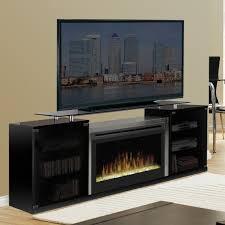 elegant entertainment center with electric fireplace dimplex marana black hayneedle barn door bookshelf glass built in