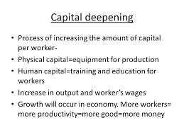economic growth us growth over time growth saw a % growth in capital equipment for production human capital training and education for workers increase in output and worker s wages growth will occur in economy