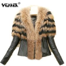 2018 faux fur coat jacket womens winter pu leather fur coats female slim short fluffy overcoat outerwear plus size 6xl clothing