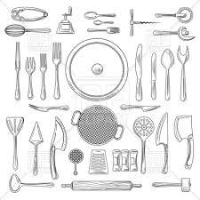 kitchen utensils vector. Kitchen Utensils Or Kitchenware Sketch. Hand Drawn Cooking Tools. Vector Image \u2013 Artwork
