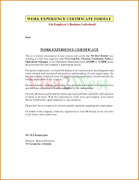 Experience Certificate Format Doc Download Copy Work Experience