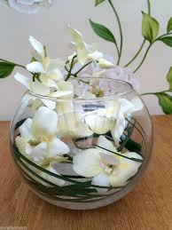 Flower Decoration In Glass Bowl STUNNING CREAM ORCHID GRASS ARTIFICIAL FLOWER ARRANGEMENT GLASS 2