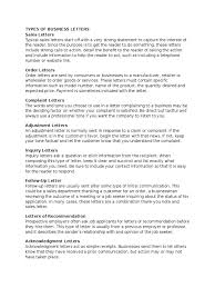 Types Of Business Letters Retail Employment