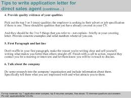 Direct Sales Resumes Direct Sales Agent Application Letter