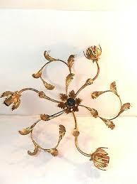 ceiling chandelier gold leaf iron