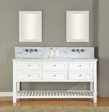 picture of 70 pearl white mission spa premium double vanity sink cabinet with carrera white