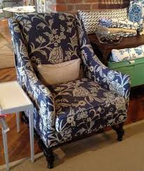 blue and white chair. Classic Blue And White Fabric Adds A Casual Flavor To Thibaut\u0027s Salem Wing Chair. Chair N
