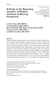 Pdf A Study On The Reporting Intention Of Medical Incidents A