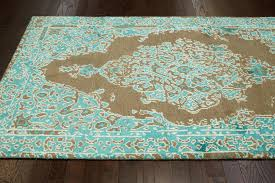 turquoise and brown area rug