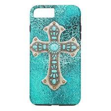 iphone 8 plus case. ***turquoise western cross leather look print iphone 8 plus/7 plus case iphone