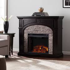 kelley ebony and gray stacked faux stone electric fireplace