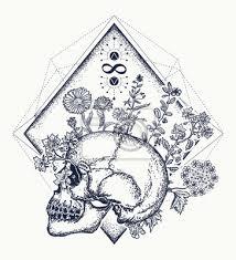 Fototapeta Lidská Lebka Pomocí Jakých Květin Tetování Symbol života