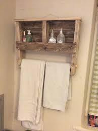 reclaimed pallet towel rack with shelf