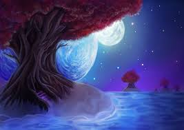 painting landscape tree leaves sky night stars the moon the planet wallpaper 3508x2480 210585 wallpaperup