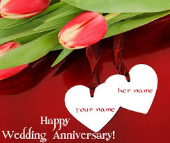 Write Yours Names On Happy Anniversary Card Namegifcom