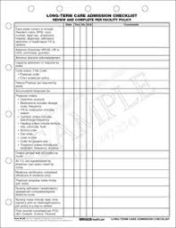 New Admission Charting Long Term Care Admission Checklist