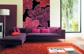 Purple And Red Living Room Ideas Cream Fabric Curtain Wooden Frame