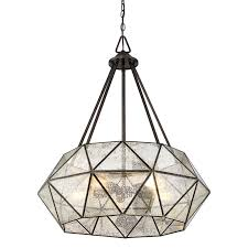 prism framed mercury glass chandelier   light  shades of light