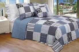 Daniel] 100% Cotton 3PC Vermicelli-Quilted Striped Patchwork Quilt ... & [Daniel] 100% Cotton 3PC Vermicelli-Quilted Striped Patchwork Quilt Set (King  Size) Adamdwight.com