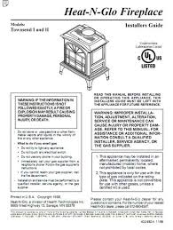 heat n glo townsend i and ii gas stove manual