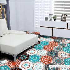 l and stick flooring canada images hexagon pvc floor sticker with colorful embroidery home decoration of