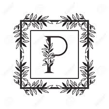 Designs Of Letters Ofthe Alphabet Letter P Of The Alphabet With Vintage Style Frame Vector Illustration