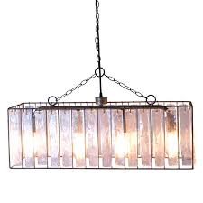 rectangle crystal chandelier with thick glass pendant