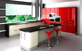 impressive designs red black. Impressive Black Porcelain Top Kitchen Island And Two Red Counter Stools As Well Glossy Modern Cabinets In Apartment Designs