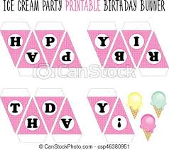 Birthday Banner Printable Happy Birthday Banner Ice Cream Party