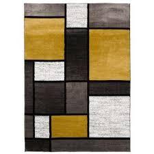 contemporary modern boxes gray yellow area rug 9 x12
